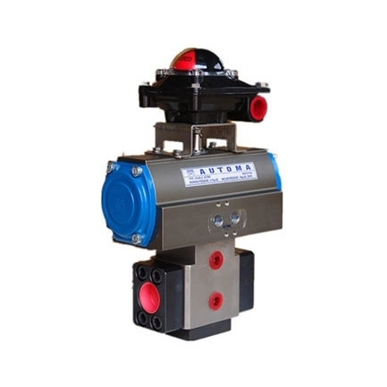 Pneumatic high and low pressure transfer valve